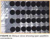 图二、斜视显示出开路的焊盘/BGA连接