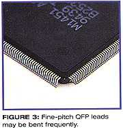 图三、密间距QFP的引脚经常被弯曲